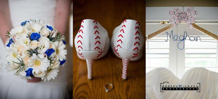 Baseball Themed Wedding, baseball shoes, baseball hanger, baseball flowers, baseball wedding