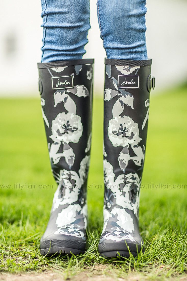 Joules Black and Grey Floral Rain boots