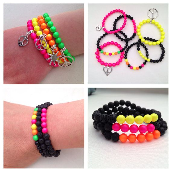 Neon bracelets black and neon bracelet neon charm by Chalso