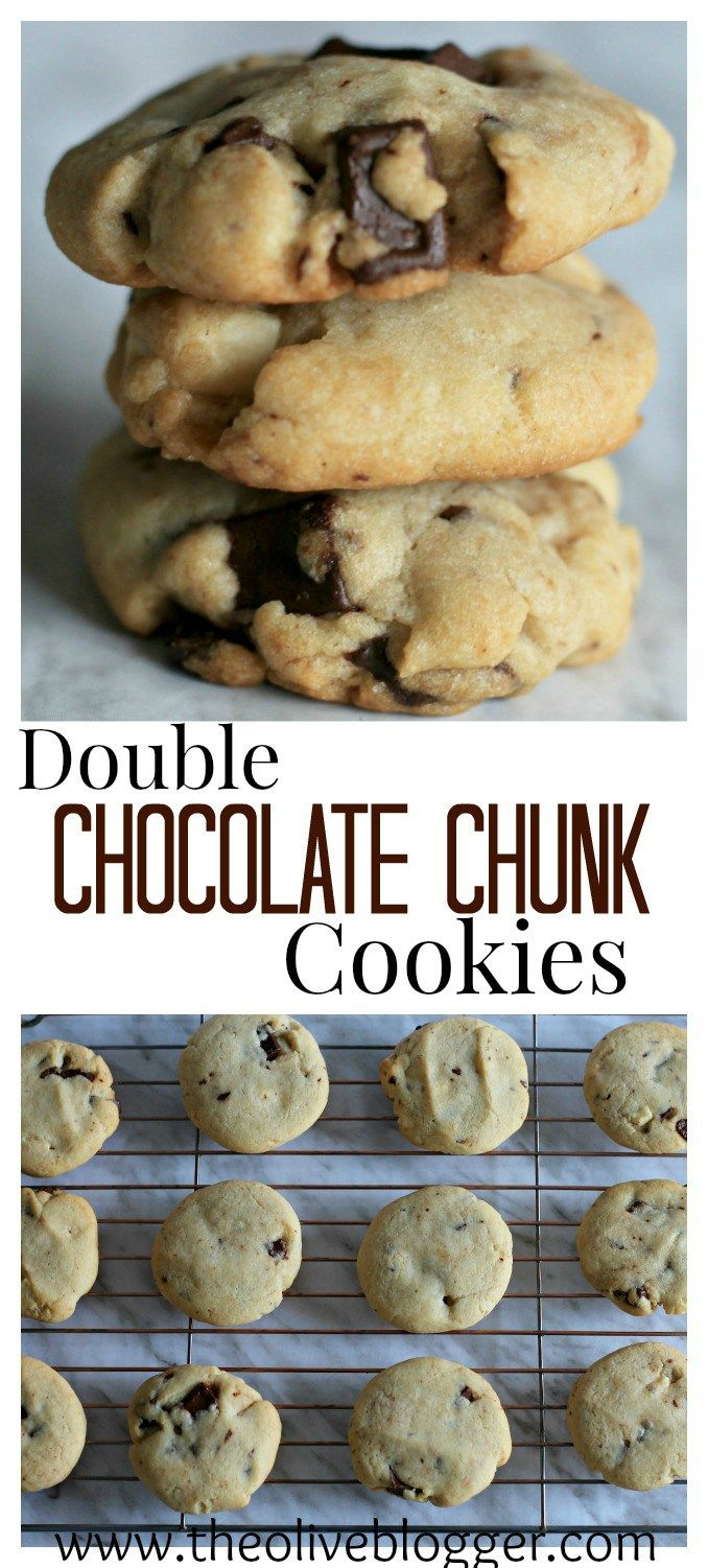 Double Chocolate Chunk Cookies - These are super easy to make and are loaded with chocolate! Perfectly chewy with a little crunch on the bottom, you will want to make a double batch!