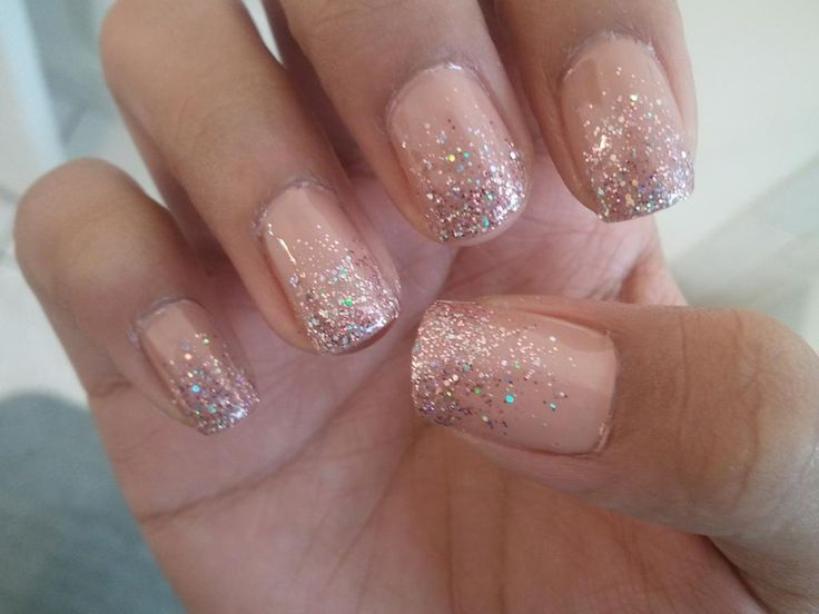 Nude Glitter Nails... Looks like I light pinky peach nude with gold glitter and I'M IN LOVE! I would wear my nails like this all year round