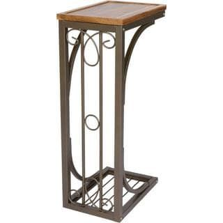 41$ 5$ shipping Trademark Innovations Acacia Wood/Metal 2-foot Scroll Design Sofa Side Table | Overstock.com Shopping - The Best Deals on Coffee, Sofa & End Tables