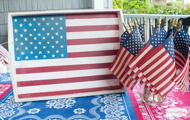 Atta Girl Says | Handpainted Vintage American Flag Tray | http://www.attagirlsays.com