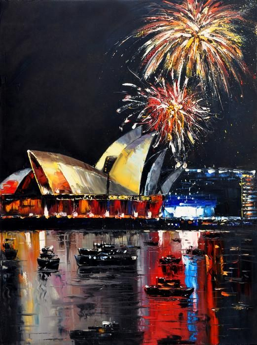 New Year Firework at Opera House - Australia Painting