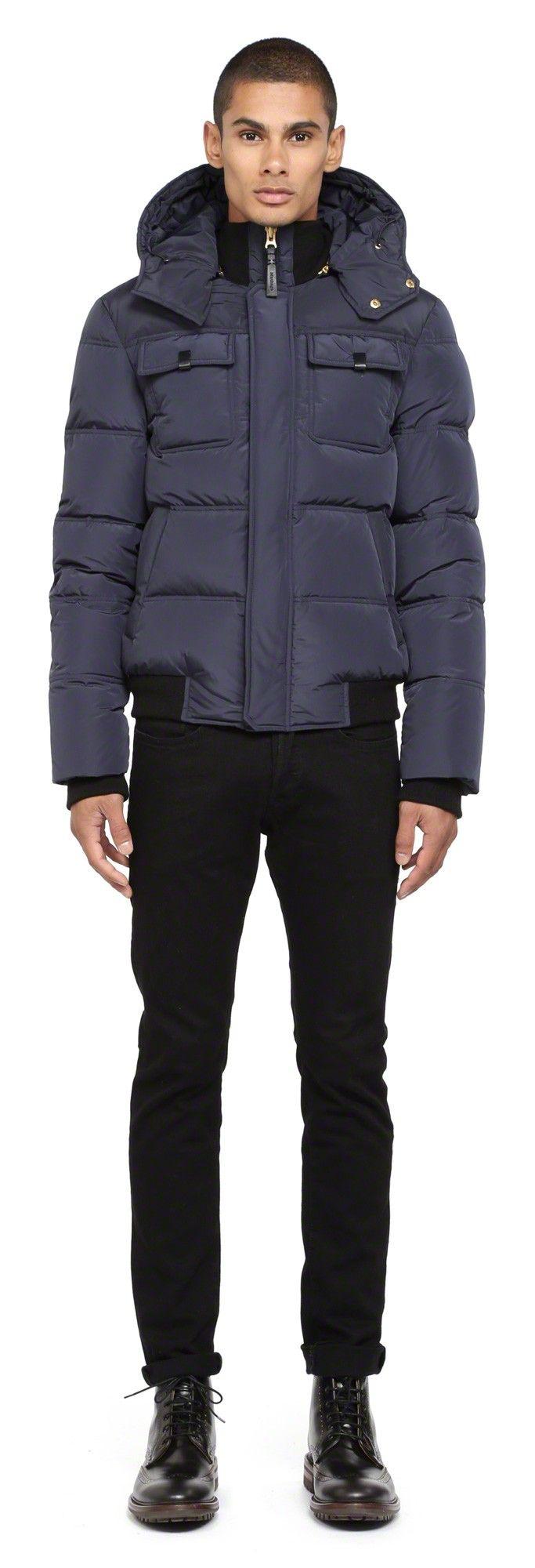 Mackage - GARY-F4 INK DOWN WINTER JACKET FOR MEN WITH LEATHER TRIM. www.mackage.com #menswear #fw14 #wintercoat #parka #luxuryouterwear