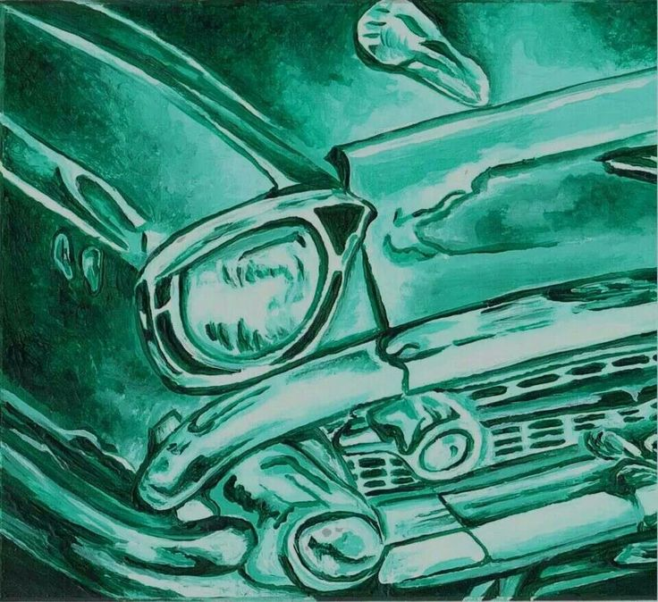 Monochromatic old car acrylic painting conway high for Car painting school