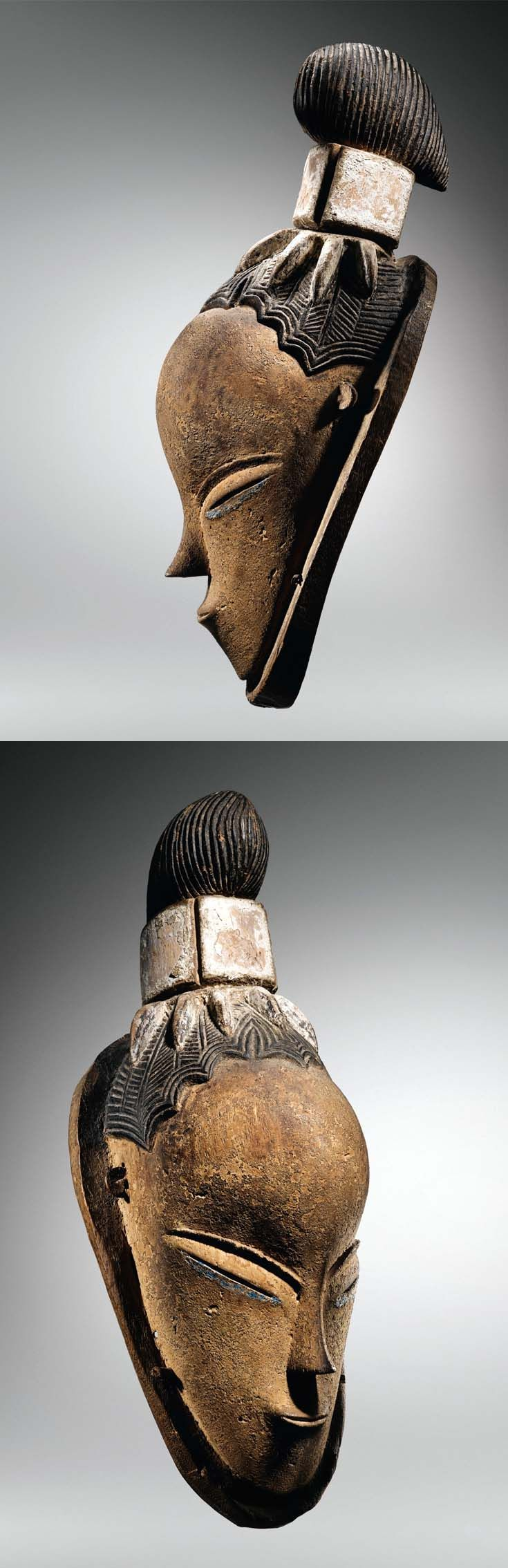 """Africa   Mask from the Guro people of the Ivory Coast; by """"The master of Bouafle"""" who is believed to have lived between 1880 and 1930   Wood and pigment"""