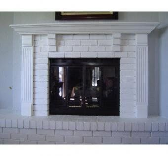 Custom Made Fireplace Mantle & Surround With Brick: Remodel Ideas, Fireplaces Mantles, Fireplaces Mantels, Design Ideas, Brick Custom, Brick Fireplaces, Fireplaces Ideas, Furniture Ideas, Barns Wood