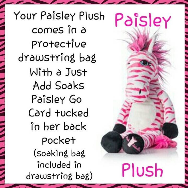 New, Paisley Pink Zebra Plush. Add a soaks Go Card in her back pouch and scent your childs room. Available at www.sprinklingofsprinkles.com