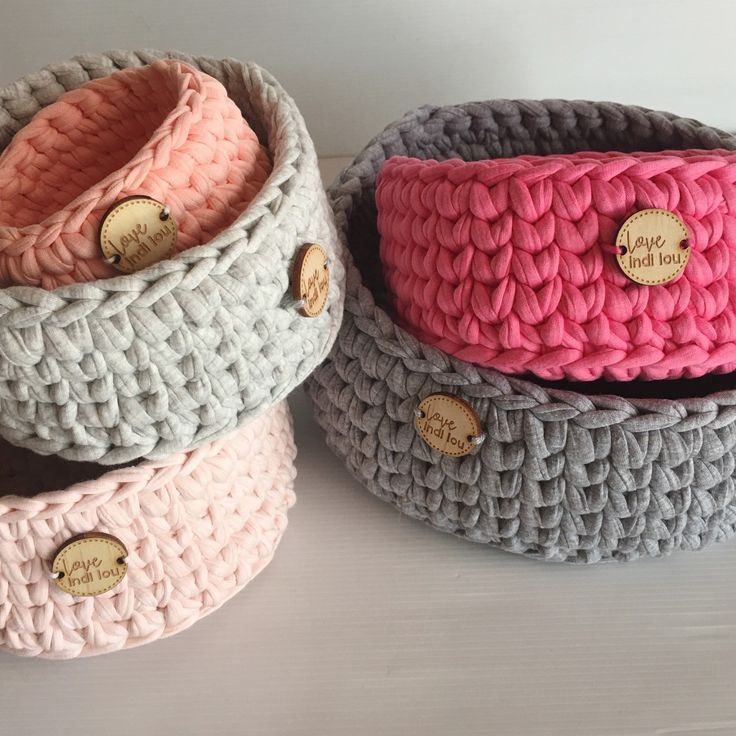 Grey and pinks custom made baskets