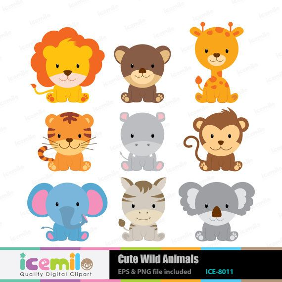 Cute Wild Animals Digital Clipart by IcemiloClipart on Etsy, $5.00