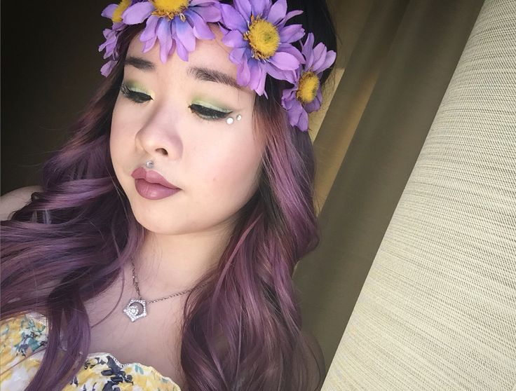Flower child   #makeup #spring #summer #inspiration #flowerchild #mothernature #katvondbeauty #katvond #colourpop #lumiere2 #beauty #youtube #tutorial #jackiieel #greenmakeup #mua #musicfestival #flower #purplehair #curlyhair #colourpoplumiere #katvondvivaloca #gradient #greenshadow #makeuptutorial #asian #monolids #asianmua #asianmakeup #howto #brightmakeup