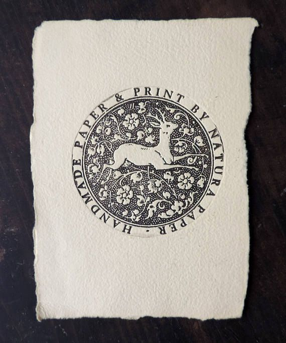 Stag engraving on handmade paper, original print by Natura Paper from Transylvania, etching deer and flowers in circle, vintage printmaking