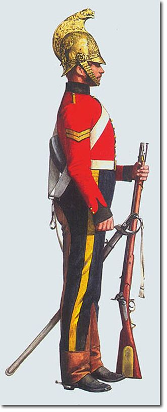 7th Dragoon Guards South Africa.This illustration by Pierre Turner,taken from Michael Barthorp's book, British Infantry Uniforms Since 1660, shows a corporal in campaign dress .1845.