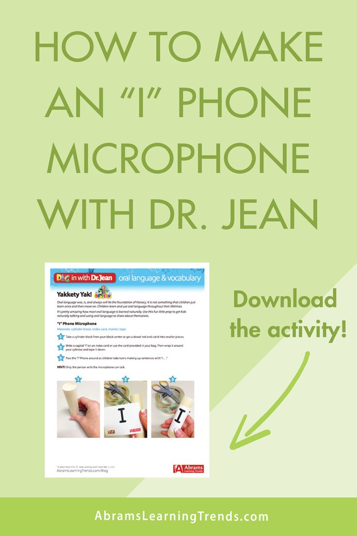 "Dr. Jean Activity | How to Make an ""I"" Phone Microphone 