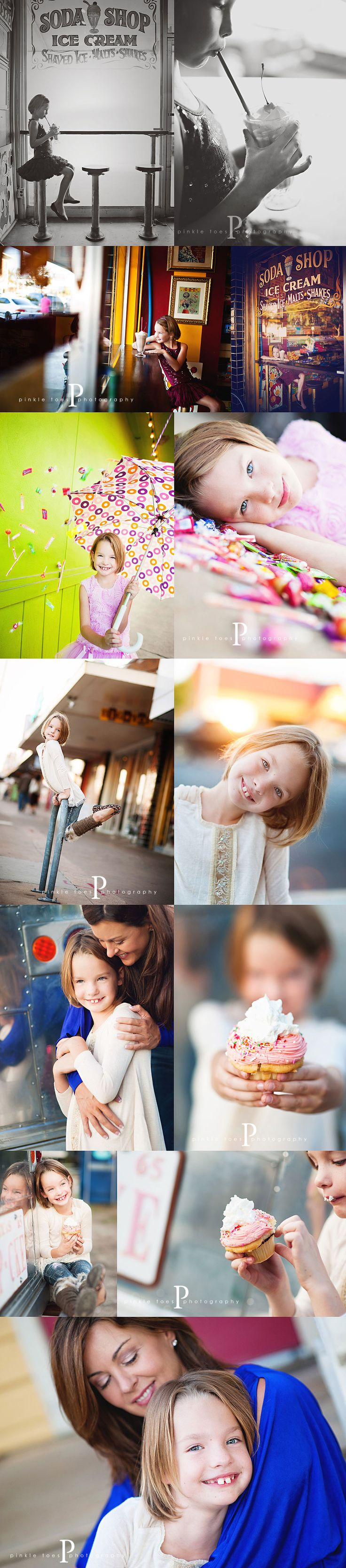 Michele of Pinkletoes Photography continues to inspire me. I love this girlie session with candy at an ice cream parlor (with cupcakes, too!) and want to do one with Emma someday. Ultimately, remember how NOT cookie-cutter these sessions are ... this is what I want for AKP. Unique, lively, beautiful, themed...