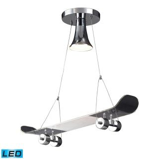 """Product Features:  Designed to cast light in a downward direction Sturdy mounting assembly keeps fixture firmly placed Capable of being dimmed - allowing you to set your desired illumination levels when used with dimmable bulbs 36"""" of cable included Skateboard pendant Fully covered under Elk Lighting's 1-year warrantyBulb Base and Compatibility:  LED - Light Emitting Diode: Highly efficient integrated diodes produce little heat and have an extremely long lifespan.Compliance:  UL Listed…"""