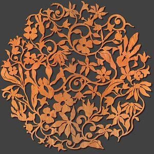 "Flower Garden Design 23"" Diam Floral Wall Medallion Laser Cut Wood ..."