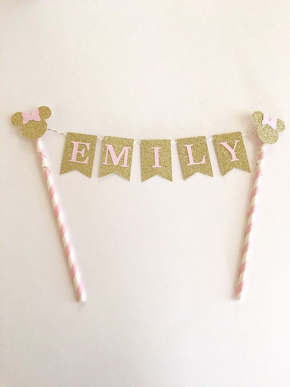 Minnie Mouse Cake Topper Pink and Gold by SweetEscapesbyDebbie