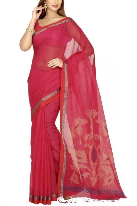 Barbie Pink & Red Dhakai Cotton Silk Jamdani Saree