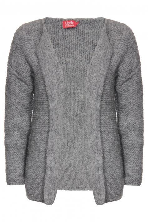 Vergroot - Grof gebreide grijze open cardigan