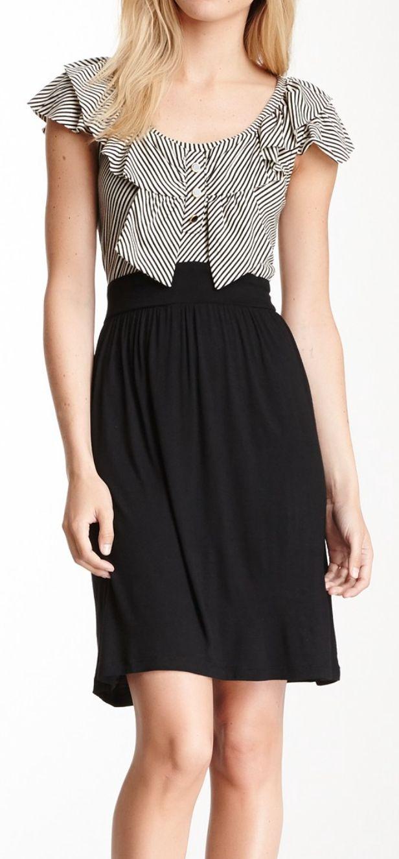 women down coat Bow stripes dress  Lovely dresses and flirty skirts