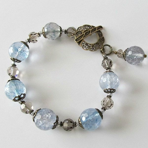 blue quartz beaded bracelet faceted gray blue quartz with swarovski crystals antique brass