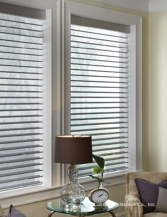 Horizontal sheer blinds combine the soft elegance of a sheer shade with the precise control of a blind, allowing the tilt of fabric vanes to adjust the light and privacy levels of a room. www.lutron.com/fabrics