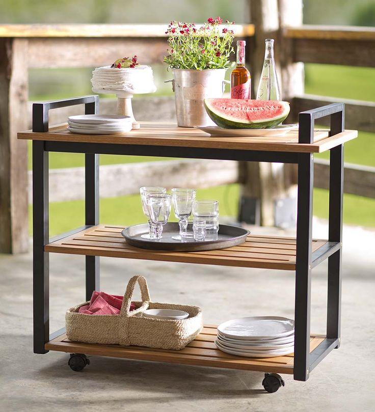 Outdoor Eucalyptus Serving Cart, Kilmarnock Collection | Outdoor Side Tables                                                                                                                                                     More