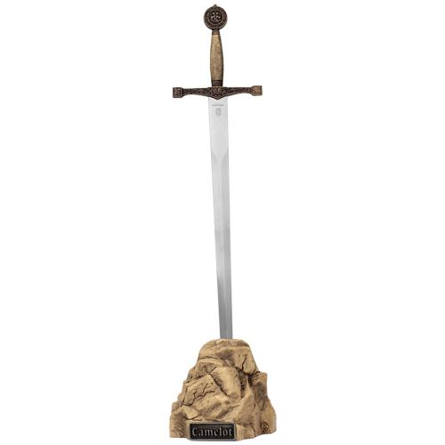 The Excalibur Letter Opener in Stone is inspired by the legend of King Arthur. It has an antiqued brass hilt and a shiny stainless steel blade.  http://www.english-heritageshop.org.uk/collectors/reproduction-swords-armour/excalibur-letter-opener-in-stone