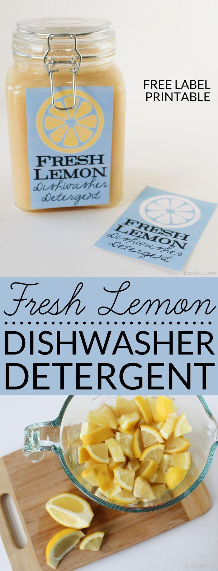 Fresh Lemon Homemade Dishwasher Detergent uses real lemons, salt & vinegar to make liquid dishwasher detergent. Learn about the recipe & its effectiveness.