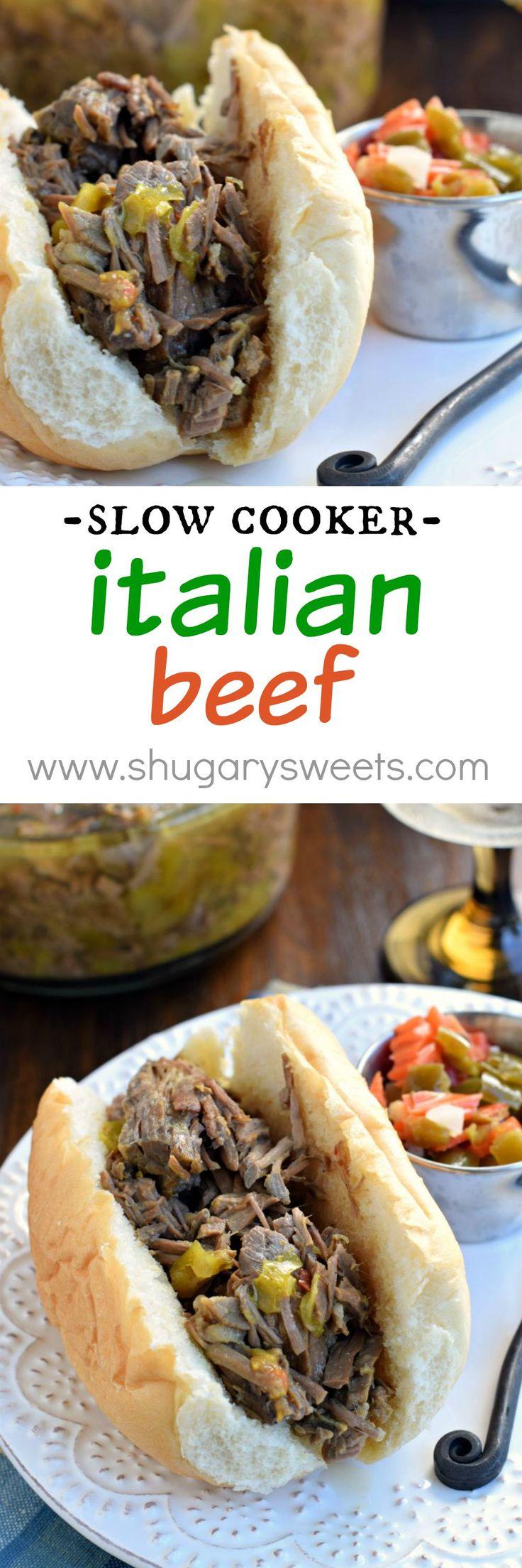 Slow Cooker Italian Beef - Shugary Sweets