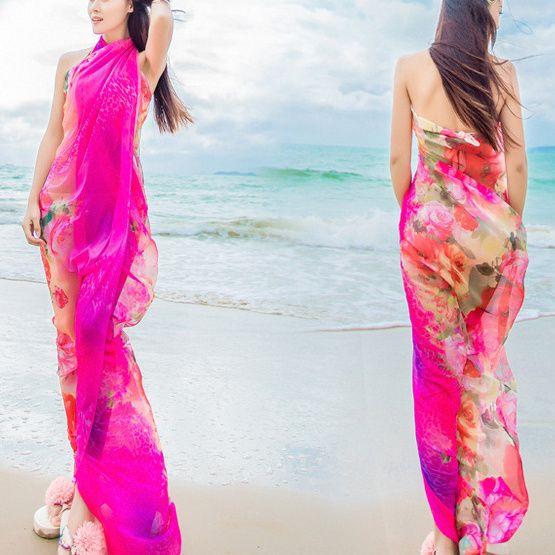 Women Sexy Silk Floral Printed Beach Towel Summer Thin Sunscreen Soft Shawls Dual Wraps