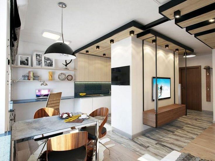 Jól elkülönülő zónák, vendégágy, természetes fa elemek - 39m2-es praktikus, modern kis lakás