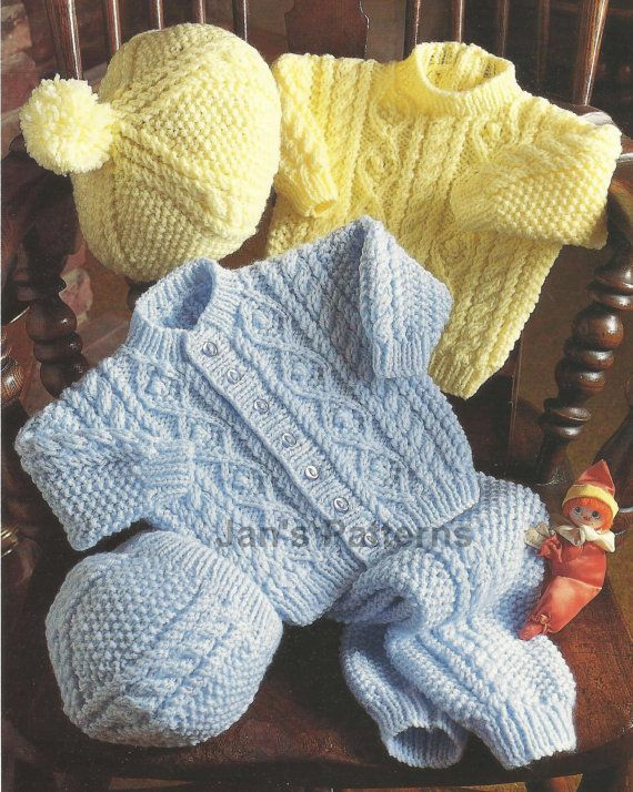 Knitting Pattern for Babies Cardigan by knittingpatterns4youInstructions child's sweater jacket hat beret, and legging. to fit size 16 to 22 inch [41 to 56 cm] Knitted in any Aran yarn with a tension of 17 stitches and 26 rows to 4 inch [10 cm] measured over moss stitch on 5mm needles. Colour reproduction image and carefully scanned text.