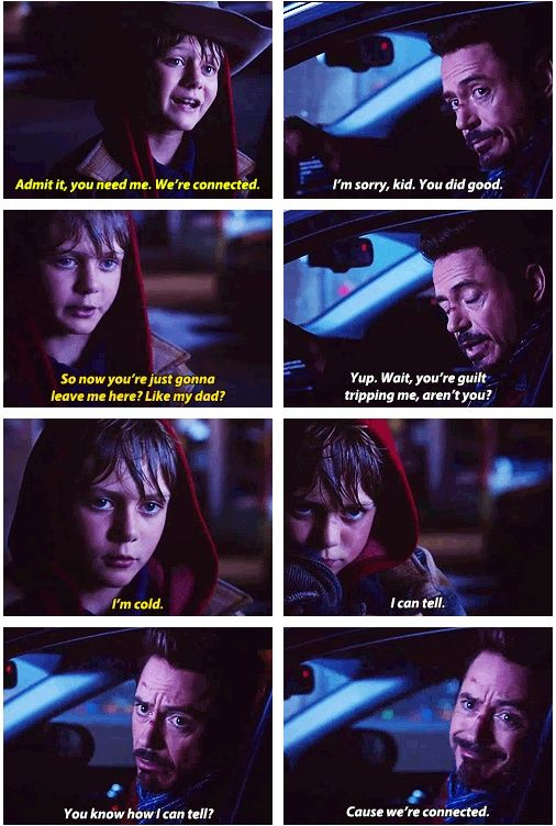 Iron Man 3 : Quotes - Harley Keener and Tony Stark  FINALLY! Evidence of my friend group's newest catch phrase!!