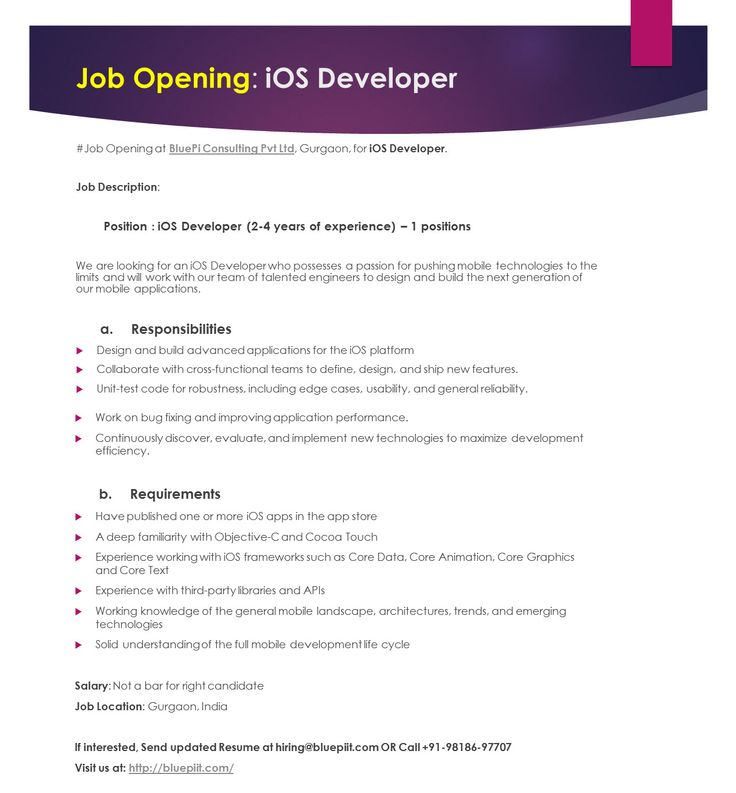 We Are Hiring iOS Developer (2-6 years of experience) u2013 1 - ios developer resume