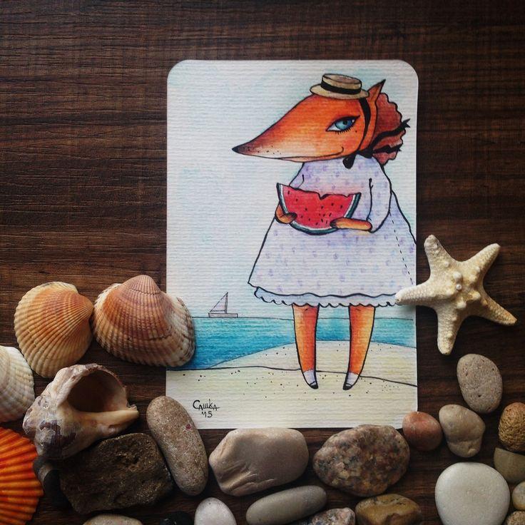 #арбузик #АРБУЗ #МОРЕ #лиса #пляж #fox #лисица #шляпка #лиса #happiness #card #otkritka #happy #postcrossing #girl #red #blue #black #postcard #postal #watercolor #color #sketch #art  #подарки #акварельки #акварель #watercolor