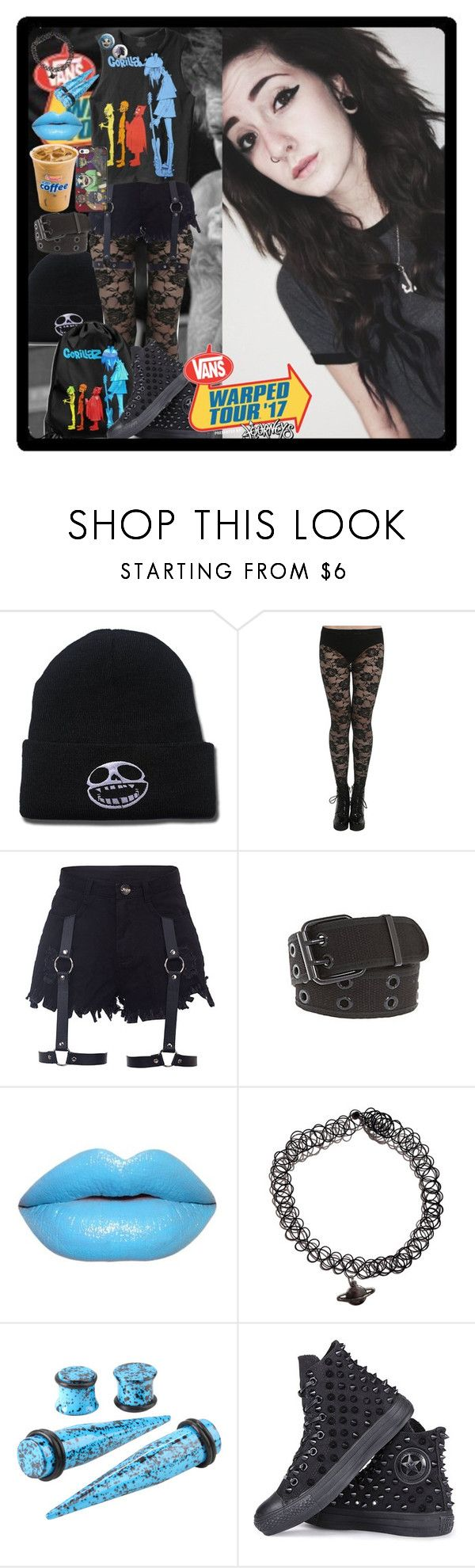"""Gorillaz Warped Tour Outfit"" by chemicalfallout249 ❤ liked on Polyvore featuring Retrò, Converse, emo, bands and alternative"