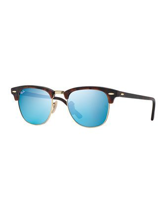 Clubmaster+Sunglasses+with+Blue+Mirror+Lens,+Havana+by+Ray-Ban+at+Neiman+Marcus.