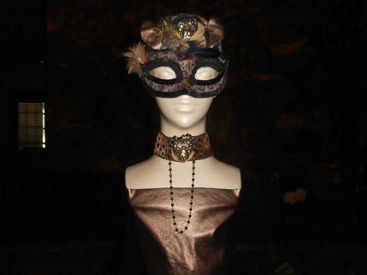 Cheeta Girl Costume, Masquerade Costume Set, Cheeta Girl Mask and Matching Necklace, Costume Design, Brown Black Gold by RoseManorGiftsandArt on Etsy https://www.etsy.com/uk/listing/466033122/cheeta-girl-costume-masquerade-costume