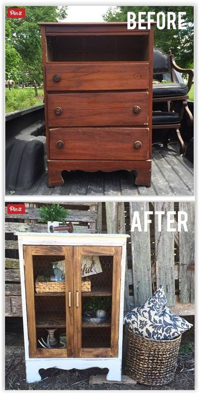 Little Dresser To Cute Cabinet ... gutting the whole thing since she was missing a drawer anyway & added shelving & then open frame doors to complete the look ................. #DIY #dresser #cabinet #chickenwire #doors #paint #stain #chalkpaint #shelves #furniture #decor #crafts