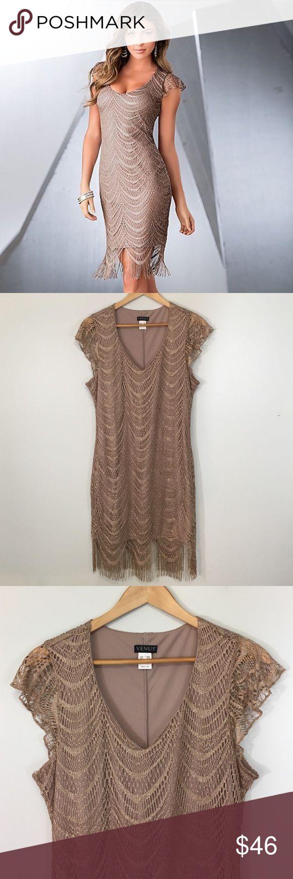 "Venus Gold Sparkle Fringe Dress Dress: EUC - Venus / Under arm to arm: 21"" L: 34"" Length of Fringe 40"" Venus Dresses"