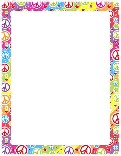 Printable peace sign border. Free GIF, JPG, PDF, and PNG downloads at http://pageborders.org/download/peace-sign-border/. EPS and AI versions are also available.