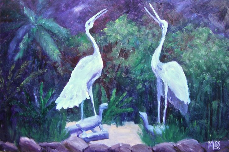 Day 23 Brolga Statues - Geelong Botanic Gardens' These two Brolga Statues standing on the backs of Turtle /Dragons are an iconic part of Geelong. Surrounded by lush, green foliage In the Geelong Botanic Gardens, I was dodging rain showers to paint this.