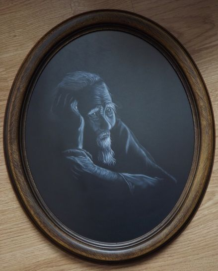 Old man on airbrush board