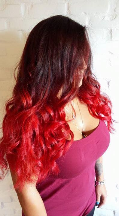 Mind blowing red ombre for long hair by Nicolas Boyer