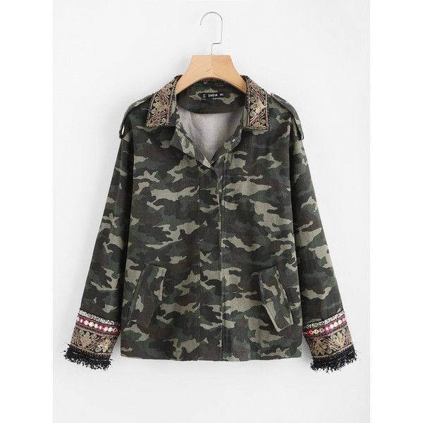 SheIn(sheinside) Embroidered Sequin Collar And Cuff Camo Jacket ($33) ❤ liked on Polyvore featuring multi color, embroidered jacket, camo print jacket, olive jacket, print jacket and green camo jacket