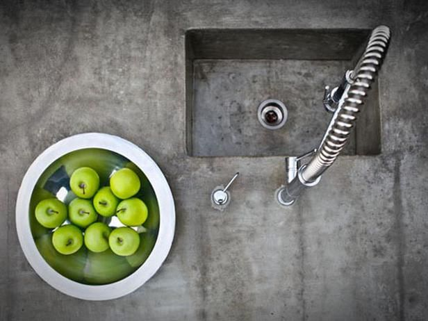 Concrete kitchen sink - like the colour and finish of the concrete