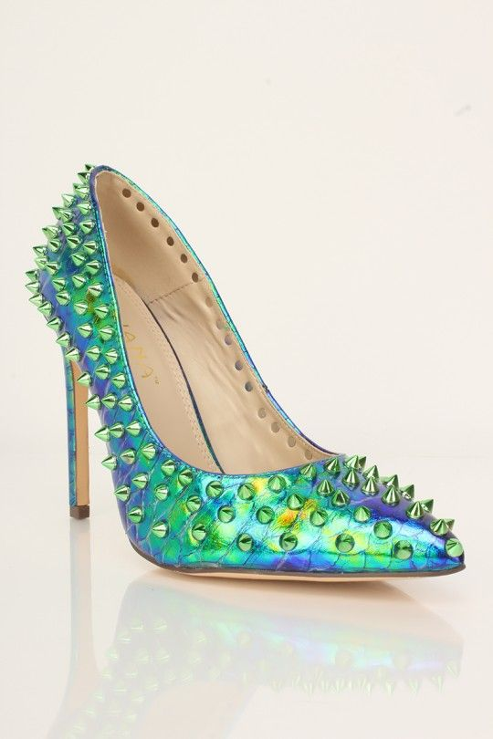 3d6b25a536 Green Hologram Spikes Studded Pumps in 2019 | 00 Sort Me Later ...